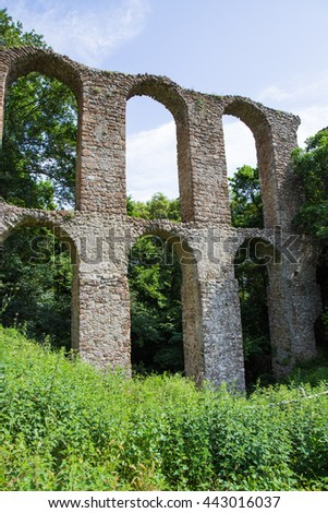 Ruins of the aqueduct in the lost city of Monterano