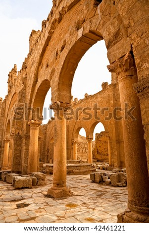 Ruins of the Basilica of St. Sergius rise out of Syrian desert in ancient Rasafa - Byzantine period. Inside fort witch Diocletian built to defend against Persian attacks - Roman time.