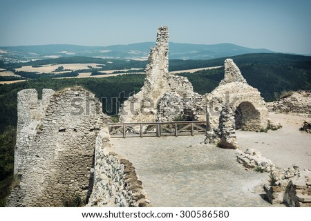 Ruins of the Cachtice castle, Slovak republic, central Europe. Seat of bloody countess. - stock photo