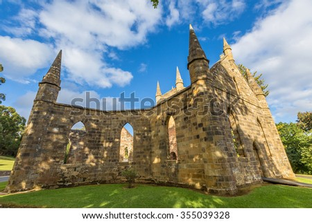 Ruins of the Church Convict, ancient historic church convict settlement, at Port Arthur Historic Site,Tasmania, Australia. Port Arthur until 1877 was a penal colony for prisoners. . - stock photo