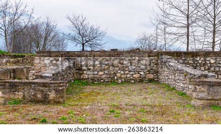Ruins of the Dion Archeological Site in Greece - stock photo