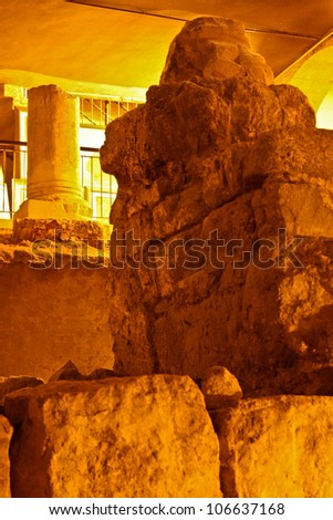 Ruins of the First Temple - stock photo