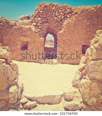 Ruins of the Fortress Masada in Israel, Instagram Effect - stock photo