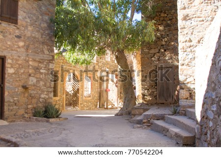 Ruins of the fortress on Spinalonga island. Elounda, Crete, Greece.