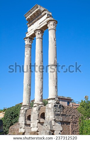 Ruins of the forum in Rome, Italy - stock photo