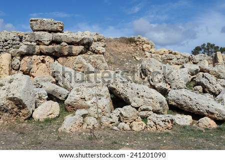 Ruins of the Ggantija temples in Gozo, Malta - stock photo