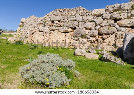 Ruins of the Ggantija temples in Xaghra - Gozo, Malta - stock photo