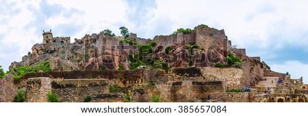 Ruins of the Golconda Fort, Hyderabad District, Telangana, India. Panorama 3x1. - stock photo