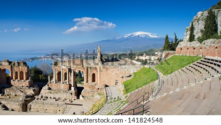 Ruins of the Greek Theater, Taormina, Sicily, Italy - stock photo
