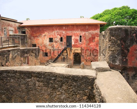 Ruins of the historical Fort Jesus Mombasa Kenya Africa - stock photo