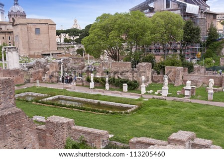 Ruins of the House of the Vestals in the Roman Forum. Rome, Italy - stock photo