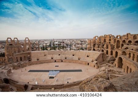 Ruins of the largest coliseum in North Africa. El Jem,Tunisia, UNESCO - stock photo