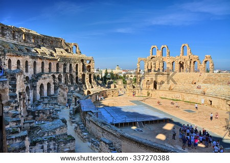 Ruins of the largest coliseum in North Africa. El Jem,Tunisia, UNESCO, HDR - stock photo