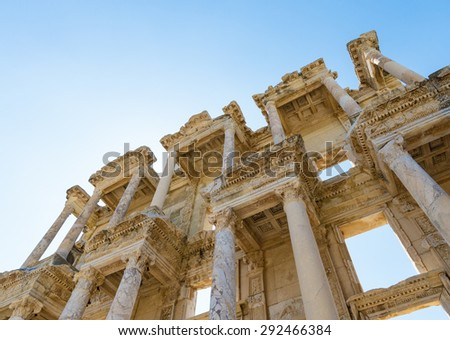 Ruins of the library of Celsus in Ephesus Turkey,. Ephesus contains the ancient largest collection of Roman ruins in the eastern Mediterranean. - stock photo
