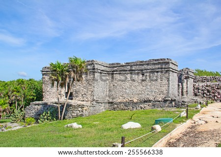 Ruins of the Mayan fortress and temple near Tulum, Mexico - stock photo