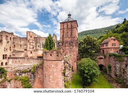 Ruins of the medieval castle and fortress in Heidelberg, Germany - stock photo
