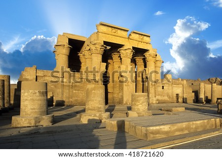 Ruins of the Nile Temple of Kom Ombo, Egypt  - stock photo