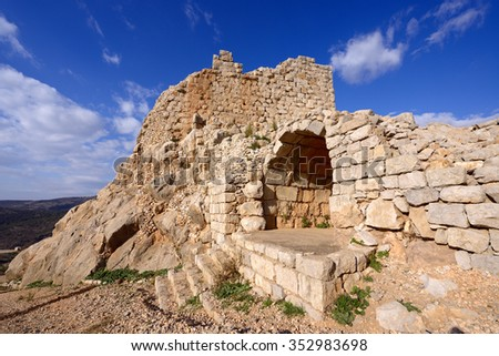Ruins of the Nimrod fortress on the north Galilee , Israel - stock photo