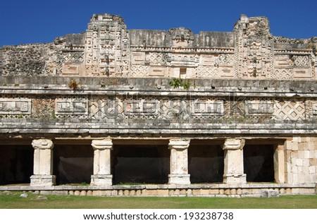 Ruins of the Nunnery Quadrangle, Uxmal, Mexico - stock photo