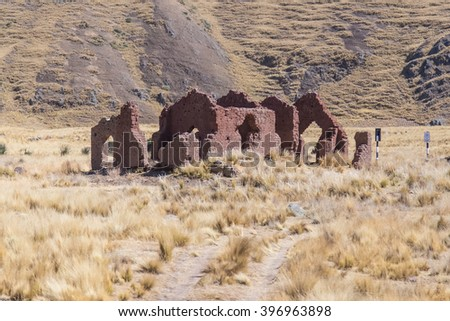 Ruins of the old house in Andes mountains, Peru - stock photo