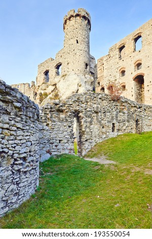 Ruins of the old medieval The Ogrodzieniec Castle in Poland. Krakow-Czestochowa Upland, Trail of the Eagles' Nests at Polish Jurassic Highland. - stock photo