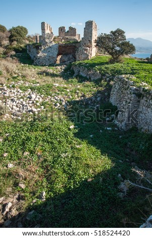 Ruins of the old Navarino castle, Peloponnese, Greece