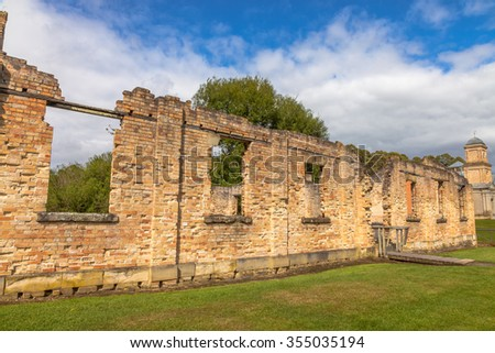 Ruins of the Paupers Mess at Port Arthur Historic Site, Which until 1877 was a penal colony for prisoners. The site is located on Tasman Peninsula, Tasmania, Australia. - stock photo