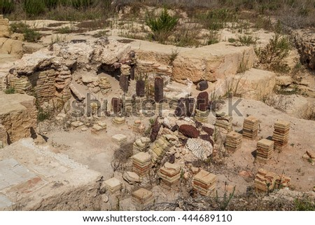 Ruins of the Roman baths in the ancient city of Lilibeo, Sicily island, Italy - stock photo