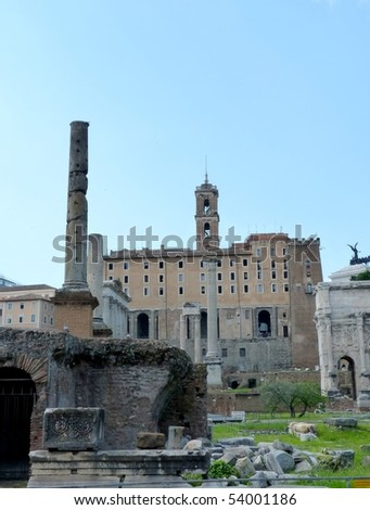 ruins of the Roman Forum and Palatine in italy