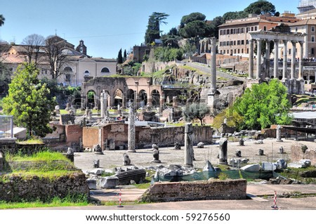 Ruins of the Roman Forum (Foro Romano) in Rome, Italy - high dynamic range HDR - stock photo