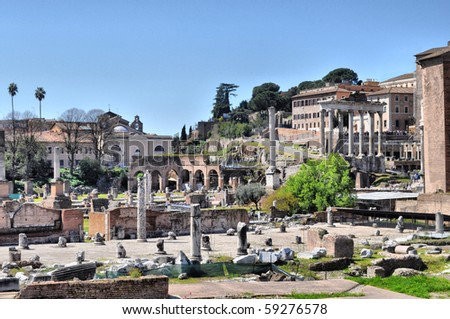 Ruins of the Roman Forum (Foro Romano) in Rome, Italy - high dynamic range HDR
