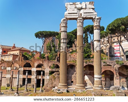 Ruins of the Roman Forum in Rome, Italy. Roman columns