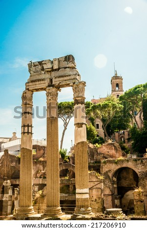 Ruins of the Roman Forum in Rome, Italy. Rome is the 3rd most visited city in the European Union.