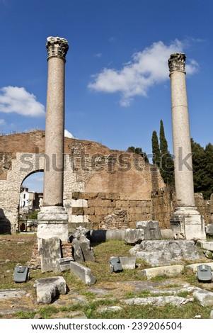 Ruins of the Roman Forum, Rome, Italy - stock photo
