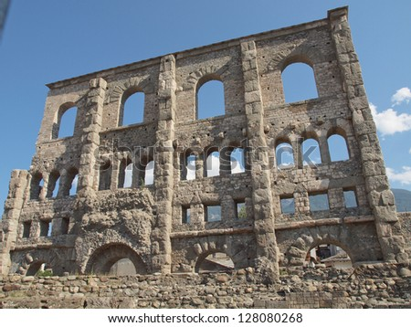 Ruins of the Roman Theatre in Aoste Italy