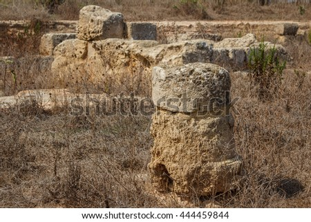 Ruins of the Roman villa in the ancient city of Lilibeo, Sicily island, Italy - stock photo