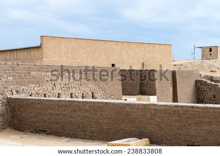 Ruins of the Saqqara necropolis, Egypt. UNESCO World Heritage - stock photo