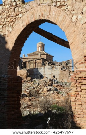 Ruins of the Spanish Civil War. Belchite. Zaragoza. Spain.
