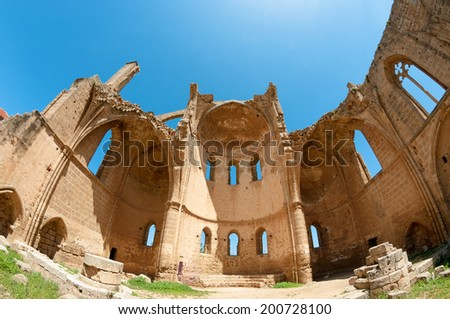 Ruins of the St George of the Greeks Church. Famagusta, Cyprus - stock photo