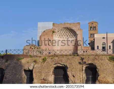 Ruins of the Tempio di Venere meaning Temple of Venus or Temple of Aphrodite in Rome Italy - stock photo