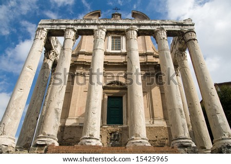 Ruins of the Temple of Antonius and Faustina on the Rome Forum - stock photo