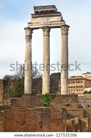 ruins of the Temple of Castor and Pollux ( Temple of Dioscuri ), Rome, Italy, a series of tour of Rome