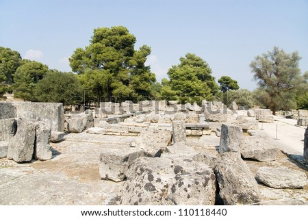 Ruins of the temple of Zeus in Olympia - stock photo