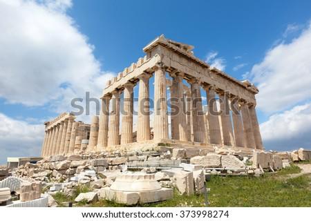 Ruins of the Temple Parthenon at the Acropolis. - stock photo