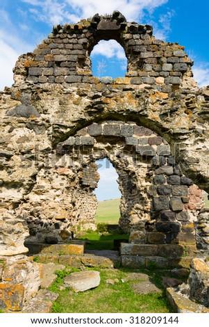 Ruins of the Tormak church (4th century) in Armenia - stock photo
