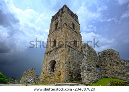 Ruins of the tower for the cathedral in the old colonial city of Panama - stock photo