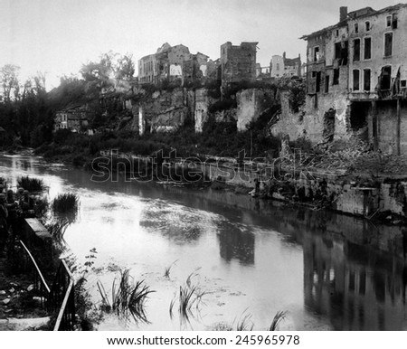 Ruins of the town of Varennes, France, destroyed during Meuse-Argonne Offensive of WWI in September 1918. Over 14,000 American soldiers were lost and are buried at the Meuse-Argonne American Cemetery. - stock photo