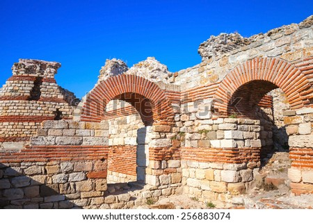 Ruins of the Wall around the old Nessebar town, Bulgaria - stock photo