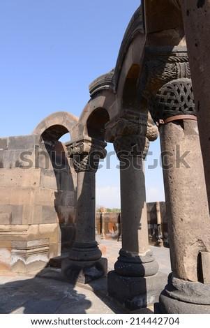 Ruins of the Zvartnots Cathedral (7th century) in Armenia - stock photo