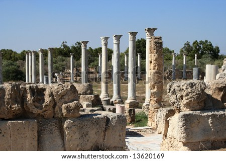 Ruins of town Salamis, Northern Cyprus - stock photo